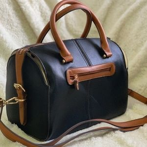 Handbags - Black Brown and Cream Colored Doctor's Bag